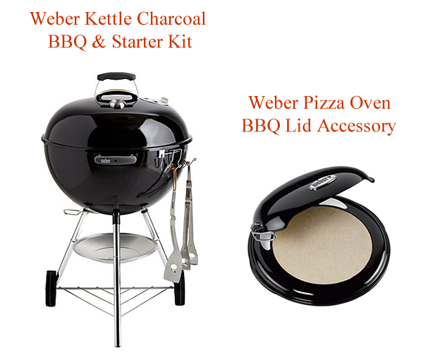 Weber Kettle Charcoal BBQ and Weber Pizza Oven lid